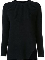 Odeeh Ribbed Side Slit Jumper Black
