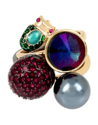 Betsey Johnson Stackable Ring Set Of 3 Multi