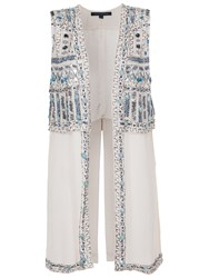 French Connection Island Maze Embellished Waistcoat Salt Water Blue