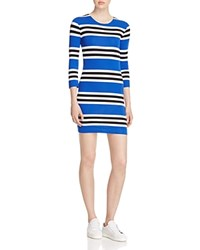 French Connection Jag Multi Stripe Dress Black White Electric Blue