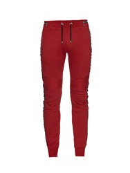 Balmain Biker Fleece Lined Cotton Track Pants