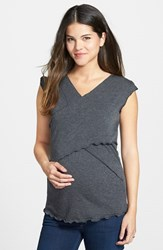 Women's Japanese Weekend Maternity Cross Front Nursing Top Charcoal