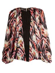 Giambattista Valli Daisy Print Lace Panelled Silk Blouse Black Multi