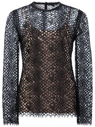 Alexander Wang Perforated Lace Top Black