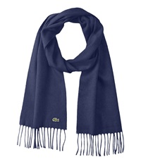 Lacoste Wool Cashmere Twill Scarf Navy Blue Scarves