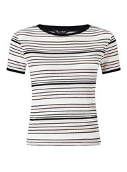 Miss Selfridge Cream Stripe Ringer Tee Multi Coloured