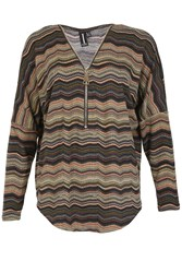 Izabel London Chevron Batwing Top Multi Coloured