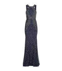 Rachel Gilbert Saskia Embellished Gown Female Blue