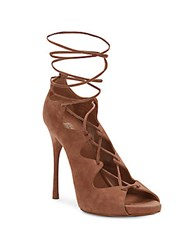 Ala A Suede Lace Up High Heel Sandals Beige