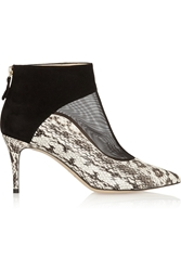 Bionda Castana Olga Elaphe Suede And Mesh Ankle Boots Black
