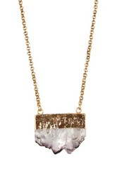 Yochi Design Crusted Gem Necklace Metallic