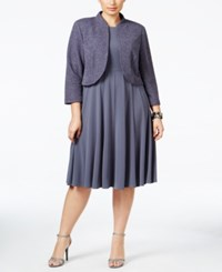 Jessica Howard Plus Size Glitter Bolero And Pleated Empire Dress Grey