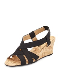 Neiman Marcus Lexie Criss Cross Wedge Black.