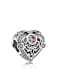 Pandora Design Charm Sterling Silver And Cubic Zirconia Opulent Heart Moments Collection