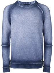 Versace Faded Crew Neck Jumper Blue