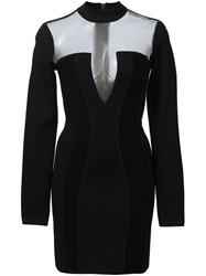 Balmain Open Panel Mini Dress Black