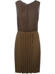 Jay Ahr Origami Panel Dress Brown
