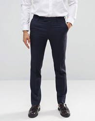 Farah Skinny Flannel Suit Trousers Navy