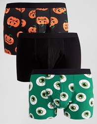 Asos Halloween Trunks With Print 3 Pack 20 Multi