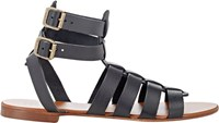 Barneys New York Double Buckle Gladiator Sandals Black