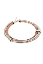 Forever 21 Layered Collar Necklace Copper Silver