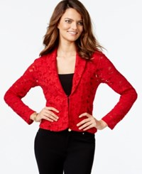 Inc International Concepts Petite Long Sleeve Lace Blazer Only At Macy's Glamorous Red
