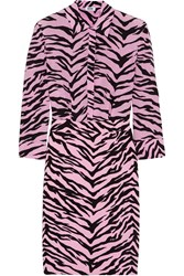 Boutique Moschino Tiger Print Silk Chiffon And Crepe Shirt Dress Pink