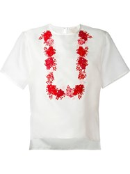 Giambattista Valli Floral Embroidery T Shirt White