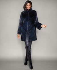 The Fur Vault Chevron Striped Mink Fur Coat Navy
