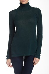 Cullen Rib Detail Hi Lo Cashmere Turtleneck Sweater Green