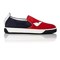 Fendi Men's Spiked Buggies Slip On Sneakers Red