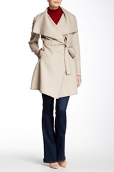 Dawn Levy Genuine Leather Trim Wool Blend Wrap Coat Beige