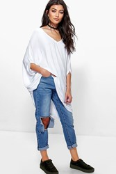 Boohoo Cold Shoulder Tunic Top White