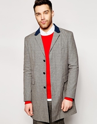 Peter Werth Made In London Dogtooth Overcoat Navy