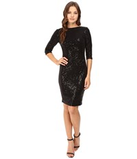 Vince Camuto 3 4 Sleeve Sheath With Side Ruching Black Women's Dress