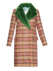 Shrimps Smith Tartan Check And Faux Fur Coat