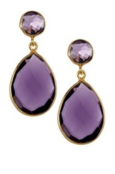Savvy Cie 18K Gold Vermeil Circle And Teardrop Amethyst Drop Earrings Purple