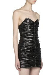 Saint Laurent Ruched Strapless Mini Dress Nero