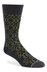 Hook Albert Men's Diamond Pattern Socks Actually Green