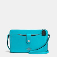 Coach Messenger With Pop Up Pouch In Colorblock Leather Silver Black Turquoise