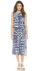 Vince Ikat Print Silk Maxi Dress Ink Off White