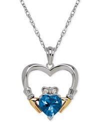 Macy's Blue Topaz 1 2 3 Ct. T.W. And Diamond Accent Heart Pendant Necklace In Sterling Silver And 14K Gold