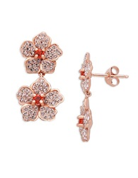 Lord And Taylor Sterling Silver Vintage Rose Colored Crystal Flower Drop Earrings