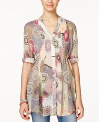 American Rag Printed Sheer Pintucked Tunic Shirt Only At Macy's Multi Print