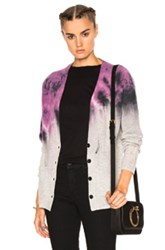 Raquel Allegra Deep V Cardigan In Purple Ombre And Tie Dye Purple Ombre And Tie Dye