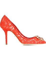 Dolce And Gabbana Embellished Lace Pumps Red