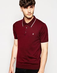 Peter Werth Knitted Polo Shirt With Tipped Collar Burgundy