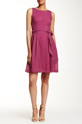 Anne Klein Nantucket Fit And Flare Sash Dress Purple