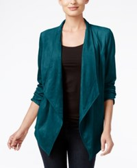 Jm Collection Open Front Draped Blouse Only At Macy's Teal Abyss