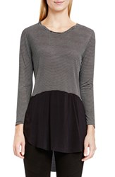 Vince Camuto Women's Two By Mixed Media Crewneck Tunic Rich Black